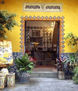 Mexican Talavera Tile in Kitchen Island Countertop & Backsplash
